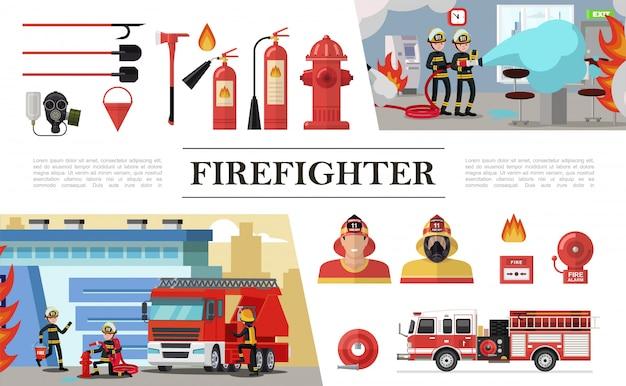 Composição plana de elementos de combate a incêndios com brigadas de resgate pás máscara de gás extintores de hidrante mangueira balde bombeiros caminhão campainha de alarme