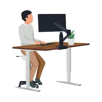 Composição plana de espaço de trabalho contemporâneo com personagem de homem sentado em uma mesa alta de computador.