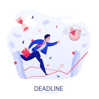 Composição plana de estresse de prazo de gerenciamento de tempo com o empresário correndo ao longo da seta ascendente em meio a ilustração vetorial de papéis voadores