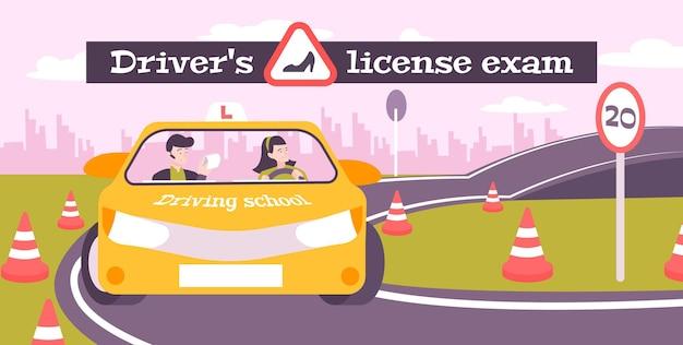 Composição plana de exames de escola de condução com texto e cenário de pista de teste ao ar livre com ilustração de motorista e instrutor