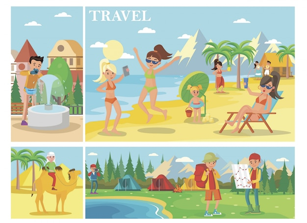 Composição plana de férias de verão com pessoas relaxando na praia homem montando acampamento de turistas de camelo na floresta