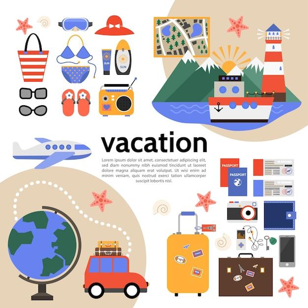 Composição plana de férias de verão