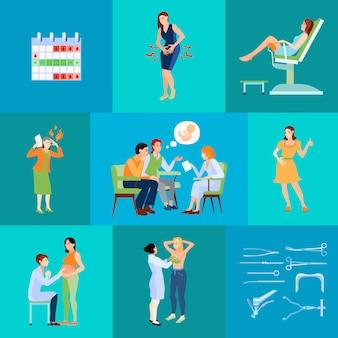 Composição plana de ginecologista com planejamento de calendário e consulta médica com o marido