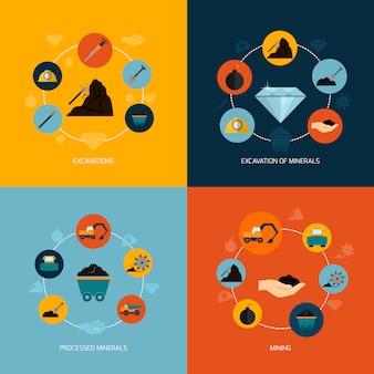 Composição plana de ícones de mineração