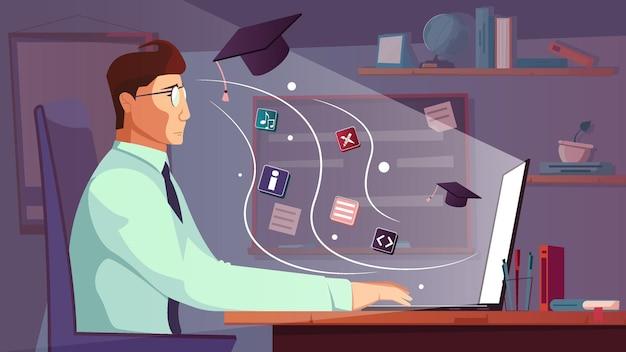 Composição plana de informações do cérebro com homem de cenário interno na mesa do computador com pictogramas de conhecimento voador