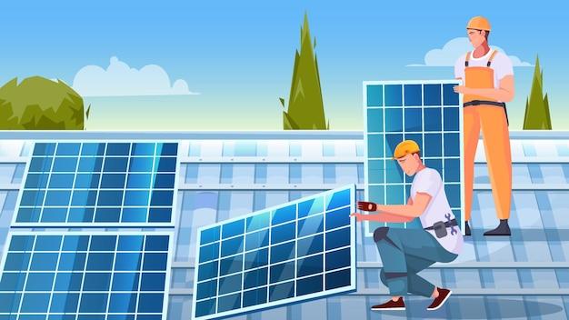 Composição plana de instalação de painéis solares com dois personagens masculinos trabalhando na ilustração do topo do telhado