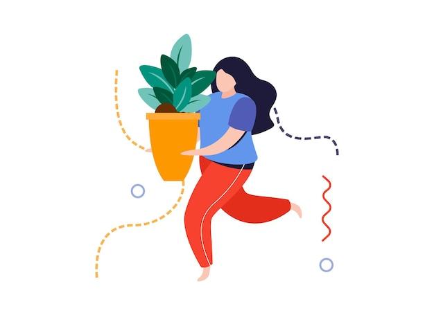 Composição plana de jardim doméstico com personagem feminina carregando vaso de flores com ilustração vetorial de planta doméstica