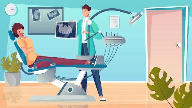 Composição plana de mandíbula de raio-x com cenário interno e paciente na cadeira odontológica com caráter de dentista
