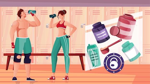 Composição plana de nutrição esportiva de musculação com vista interna do vestiário da academia com ilustração de atletas e nutracêuticos