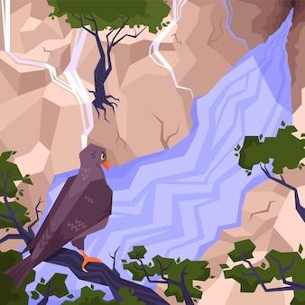 Composição plana de paisagem com uma águia em um galho entre as montanhas.