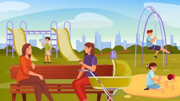 Composição plana de parquinho de mães com cenário ao ar livre com equipamentos de recreação da cidade e crianças brincando com as mães