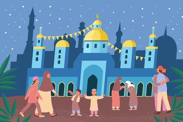 Composição plana de ramadan eid mubarak com fundo de templo decorado e ilustração de personagens muçulmanos de diferentes idades