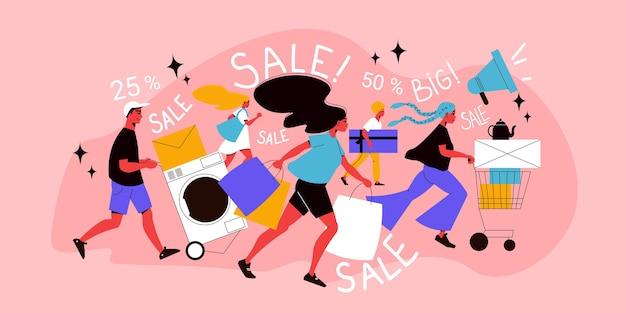 Composição plana de super venda com descontos percentuais e pessoas correndo com sacolas de compras