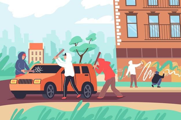 Composição plana de vandalismo com paisagem de rua urbana ao ar livre e grupo de adolescentes batendo em paredes de carros pintando ilustração