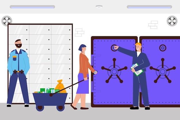 Composição plana do banco de depósito com três funcionários do banco coloque o dinheiro em um grande cofre