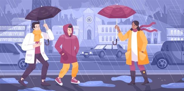 Composição plana do chuveiro meteorológico com vista da rua da cidade, com casas de carros e pessoas com guarda-chuvas.