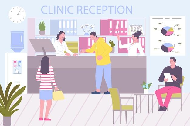 Composição plana do hospital de admissão com cenário de recepção clínica com balcão