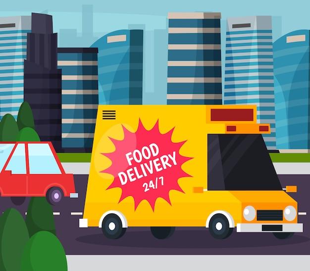 Composição plana ortogonal de entrega de comida