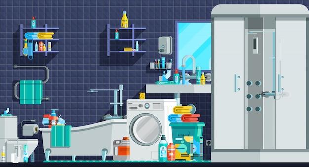 Composição plana ortogonal de ícones de higiene