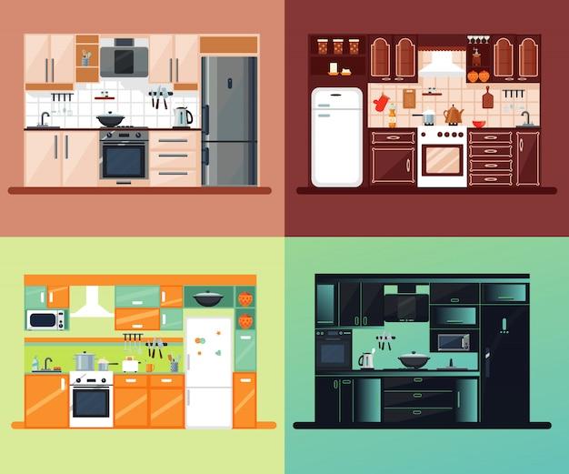 Composição quadrada do interior da cozinha
