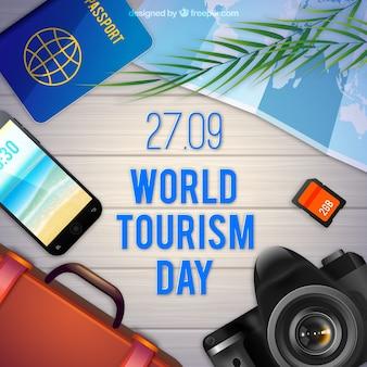 Composição realista com elementos turísticos