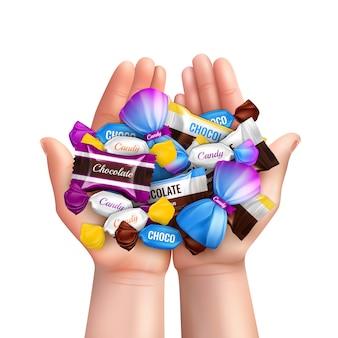 Composição realista com pilha de vários bombons de chocolate na ilustração de mãos de criança