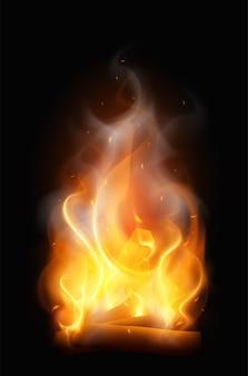 Composição realista da chama da fogueira de acampamento com colorido vertical de arame com ilustração de fumaça
