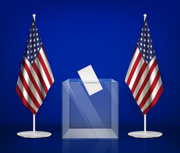Composição realista das eleições dos eua com imagens de urna transparente entre ilustração das bandeiras americanas