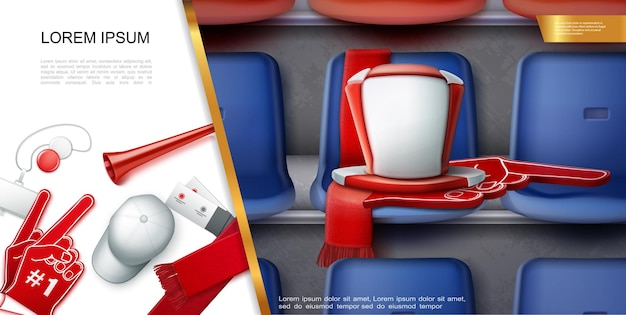 Composição realista de acessórios para fãs de futebol com emblema de vuvuzela trompete boné ingressos cachecol luva de espuma chapéu cilindro nos assentos na ilustração do estádio de futebol
