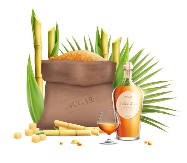Composição realista de açúcar de cana com produtos feitos a partir deste tipo de açúcar