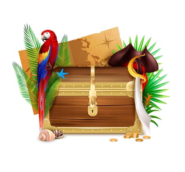 Composição realista de baú de pirata de madeira velha com moedas de ouro palmeira ramos papagaio e ilustração do mapa