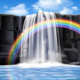 Composição realista de cachoeiras coloridas