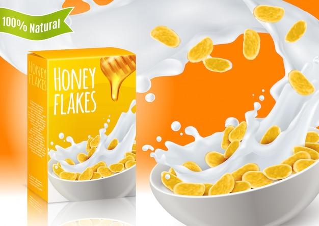 Composição realista de cereais de café da manhã de mel