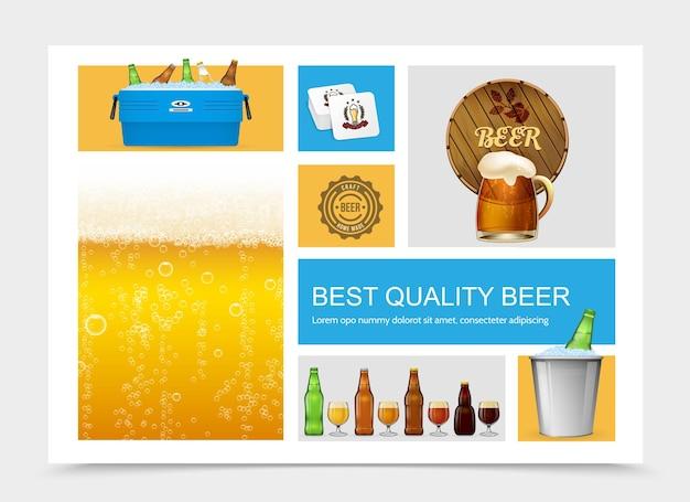 Composição realista de cerveja com ilustração de cerveja lager