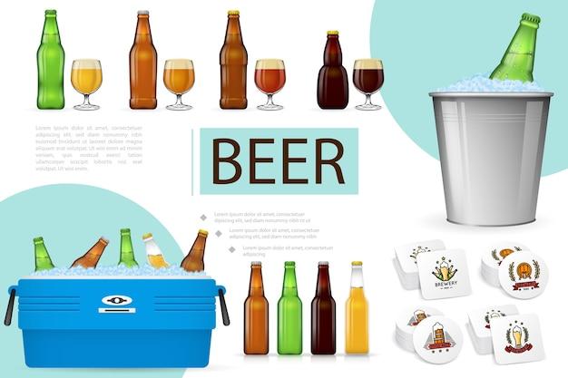 Composição realista de cerveja