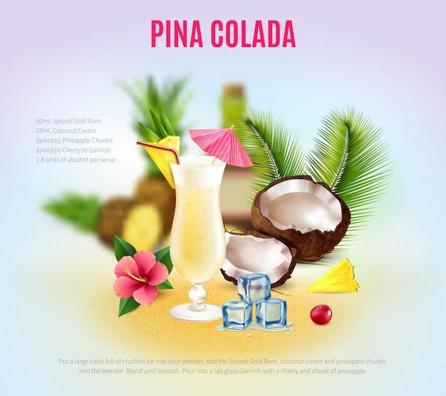 Composição realista de cocktails