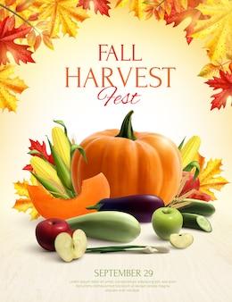 Composição realista de colheita de outono