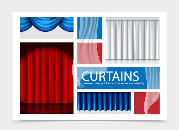 Composição realista de cortinas com lindas cortinas azuis brancas vermelhas de diferentes texturas
