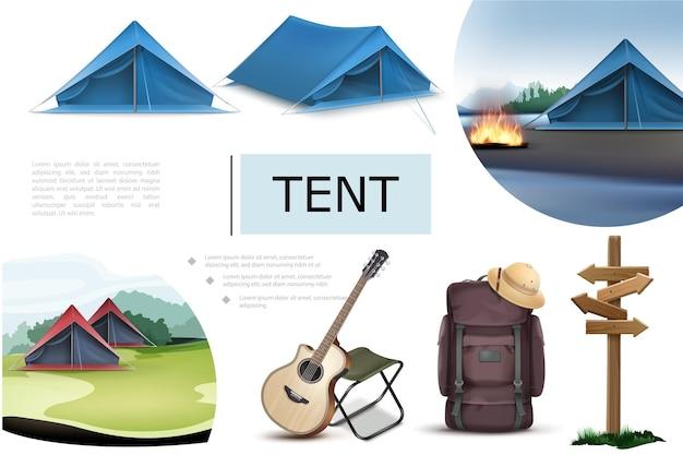 Composição realista de elementos de acampamento com barracas azuis, fogueira, cadeira de guitarra, mochila, letreiro de madeira, chapéu de cortiça