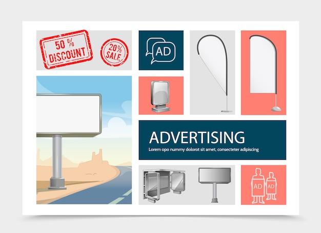 Composição realista de elementos de marketing