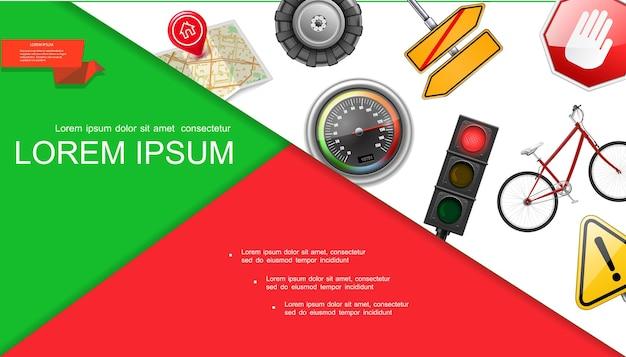 Composição realista de estradas e transporte com semáforo, pneu, mapa, pino, ponteiro, velocímetro, sinalização, bicicleta, sinalização, ilustração
