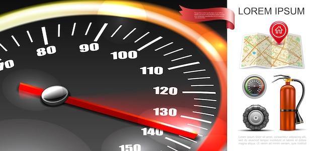 Composição realista de estradas e transporte com velocímetro, mapa de navegação, pinos, trator, pneu, extintor, ilustração