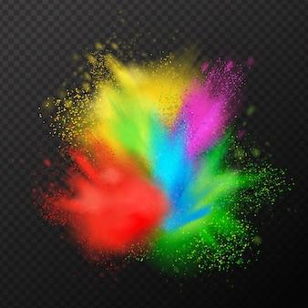 Composição realista de explosão de tinta