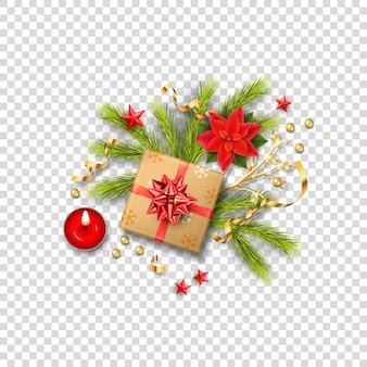 Composição realista de feliz natal com caixa de presente e decorações de natal