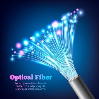 Composição realista de fibras ópticas de cabos elétricos