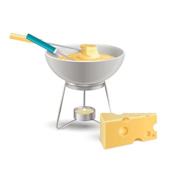 Composição realista de fondue de queijo