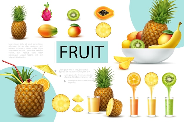 Composição realista de frutas frescas com abacaxi, manga, mamão, dragonfruit, copo de kiwi com saborosos sucos naturais