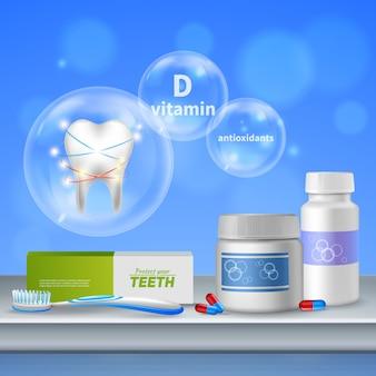 Composição realista de higiene bucal de atendimento odontológico com proteção dos dentes, manutenção de produtos de vitaminas antioxidantes e gengivas saudáveis