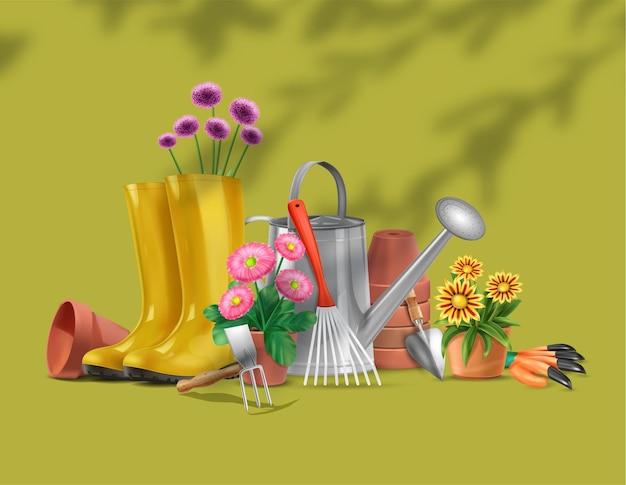 Composição realista de jardim com silhuetas de galhos de árvores e imagens de botas de equipamentos de jardinagem e ilustração de flores