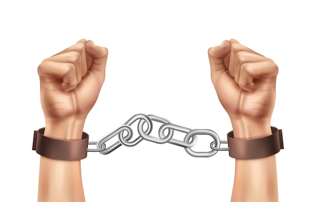 Composição realista de justiça social para o dia mundial com mãos humanas acorrentadas